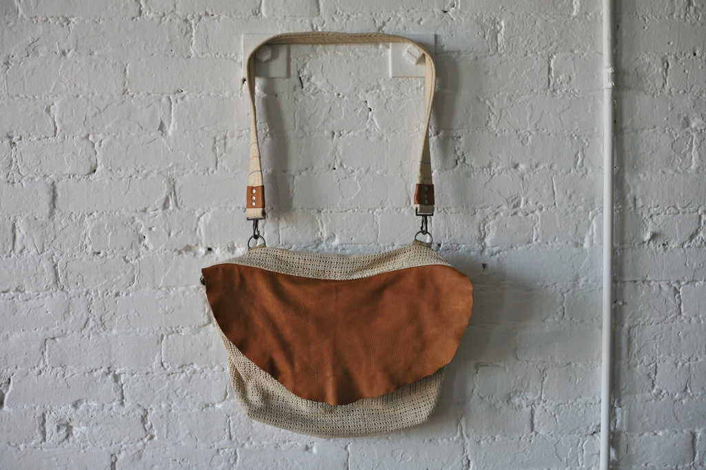 1930's era Cotton & Leather Shoulder Bag