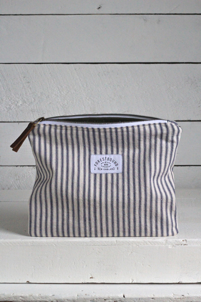 1950's era Ticking Fabric Utility Pouch