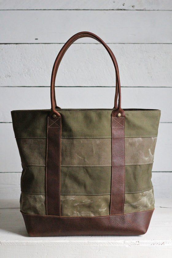 WWII era Striped Canvas Carryall