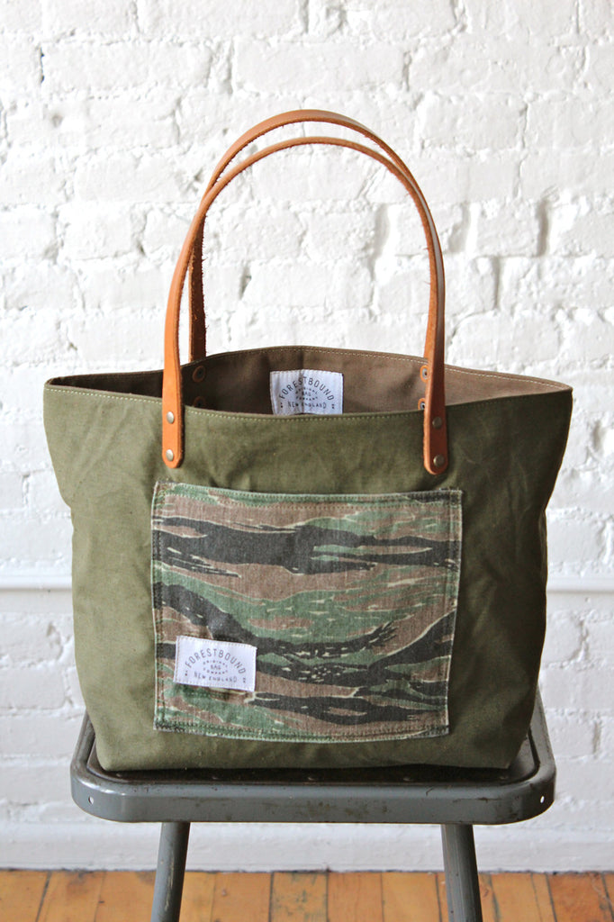 WWII era US Military Camo Pocket Tote Bag