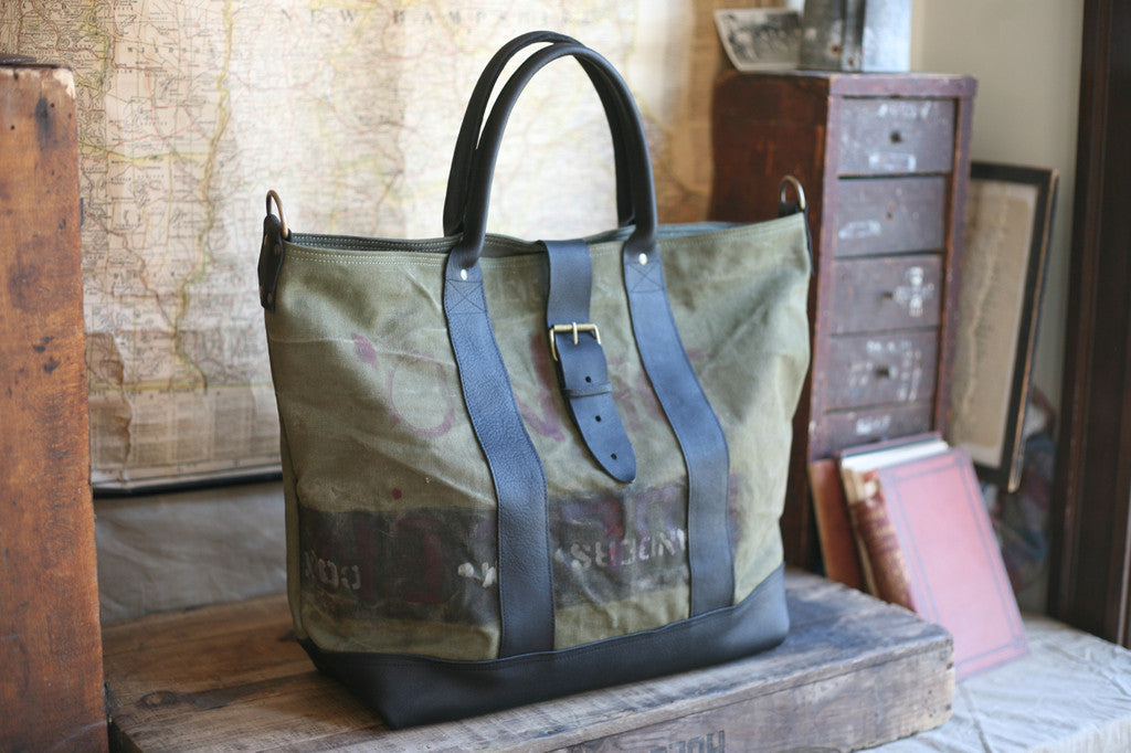 WWII era Canvas & Leather Weekend Bag - SOLD