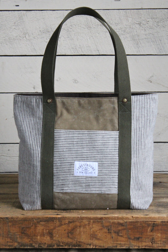1950's era Striped Canvas Carryall