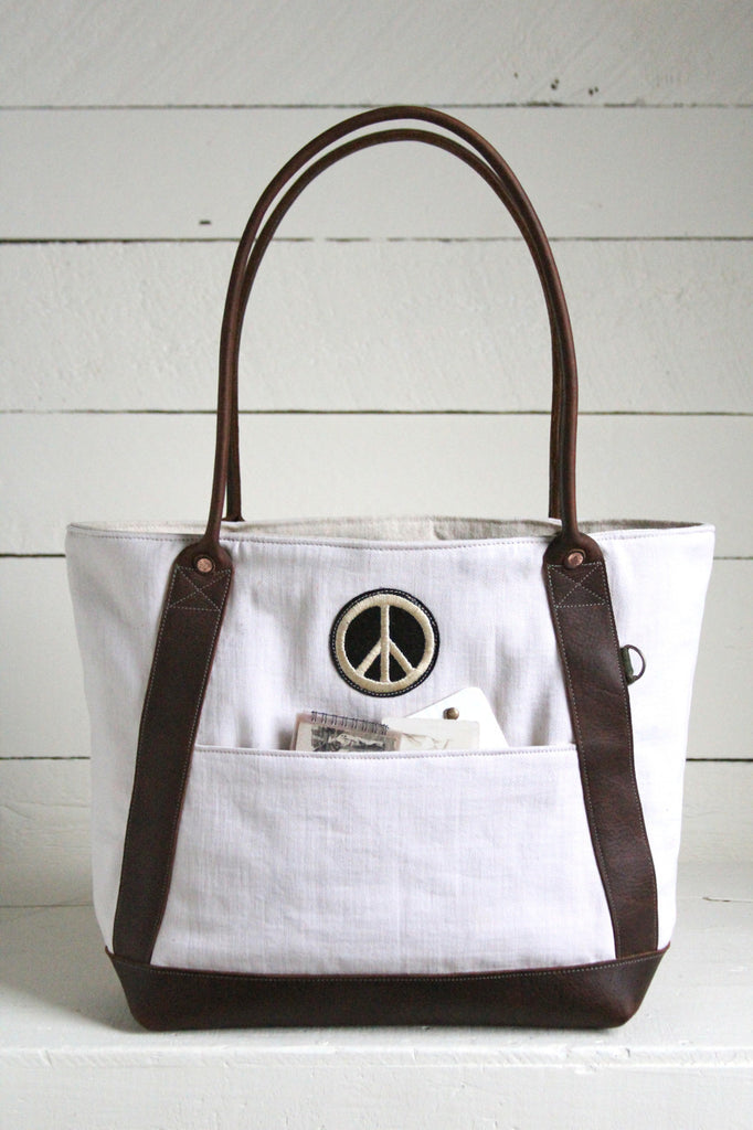 1940's era Canvas and Leather Carryall