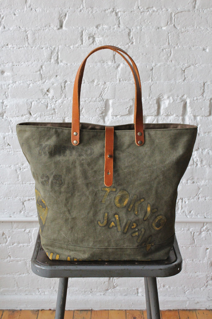 WWII era Hand Painted US Military Canvas Tote Bag
