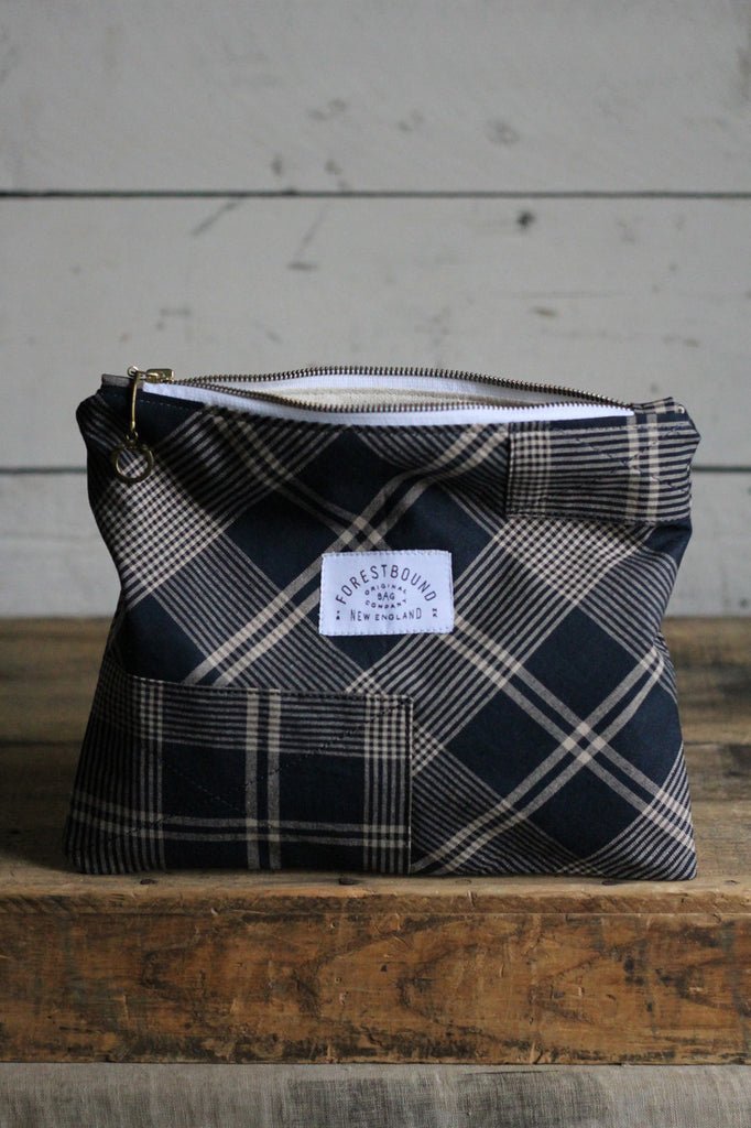 Deadstock Blue Plaid Pocket Utility Pouch