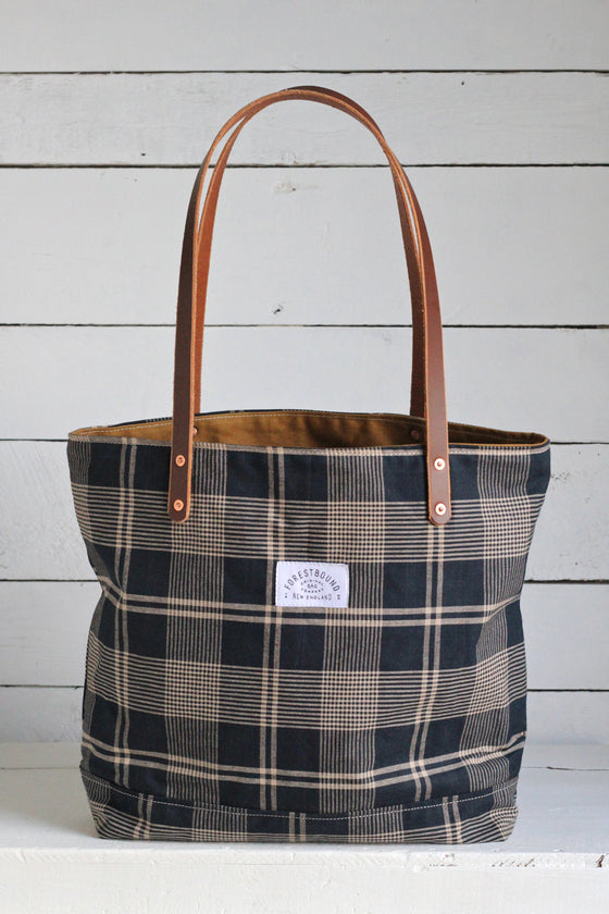 Deadstock Navy Plaid Tote Bag