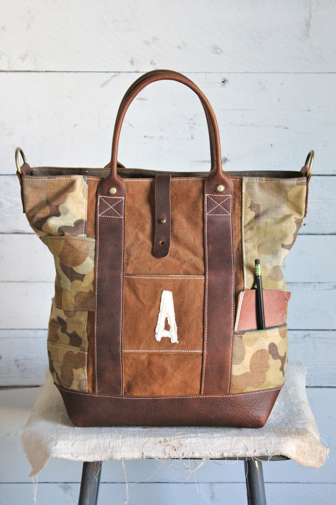1930's era Canvas & USMC Cloud Camo Weekend Bag