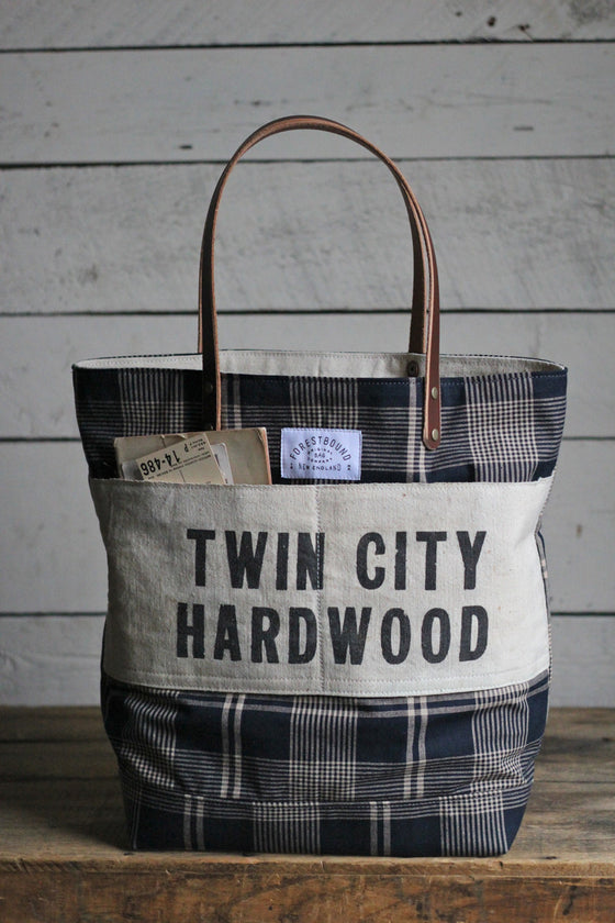 Deadstock Navy Blue Plaid & Lumber Apron Tote Bag