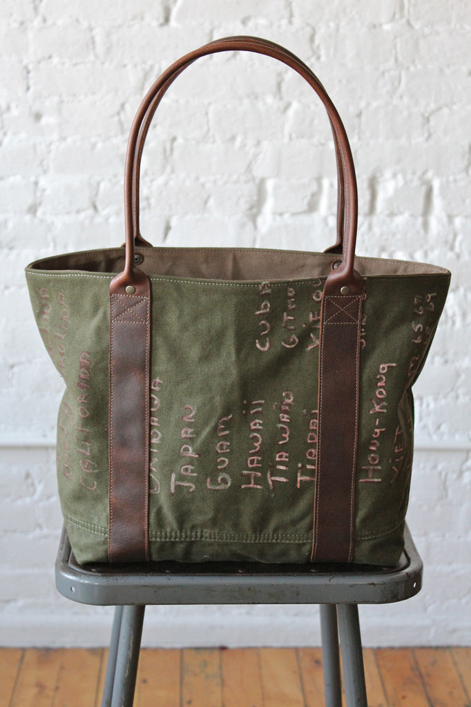 Hand Painted WWII era Canvas Carryall