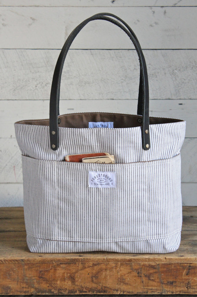 1950's era Striped Cotton Tote Bag