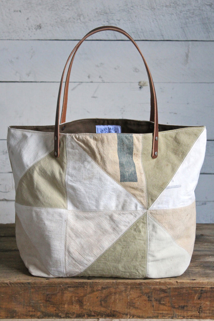 1940's era Quilted Canvas Tote Bag in Beige