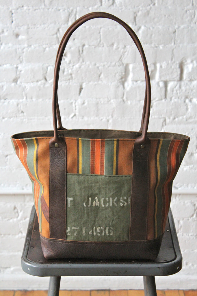 1940's era Striped Canvas Carryall