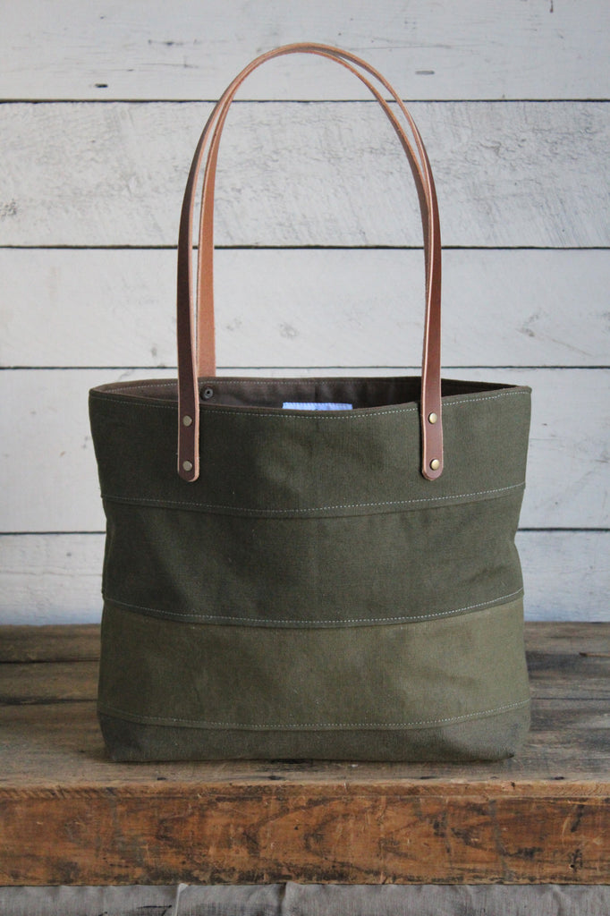 WWII era Striped Canvas Tote Bag