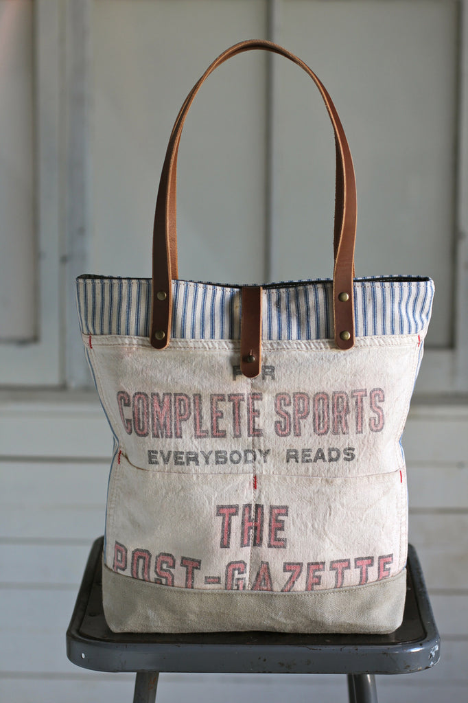 1950's era Ticking Fabric and Work Apron Tote Bag