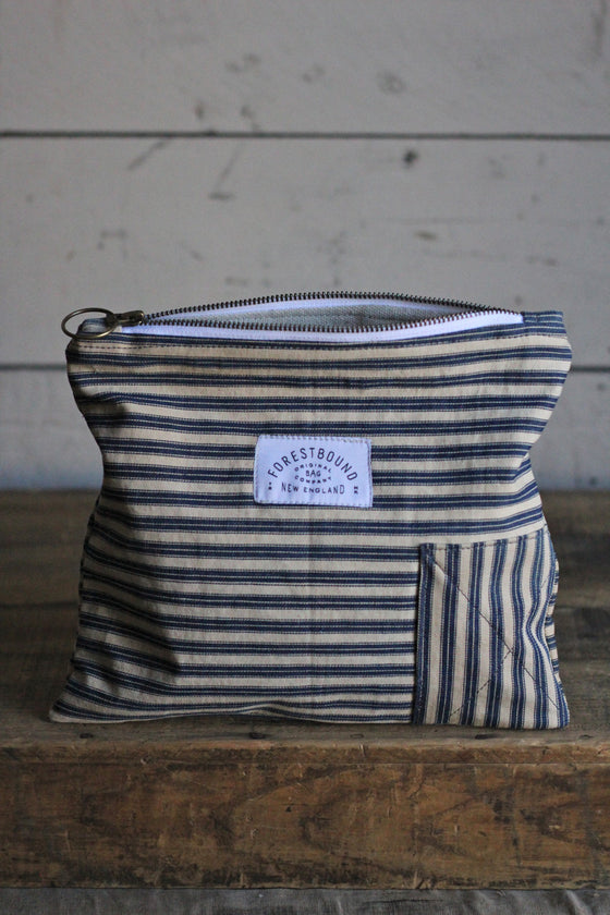 1940's era Ticking Fabric Utility Pouch