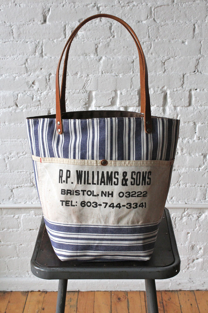 Liberty Stripe Cotton and Work Apron Tote Bag