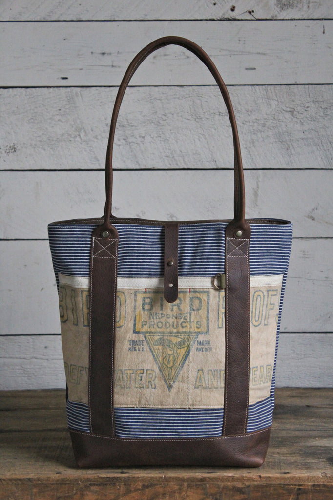 1930's era Striped Canvas & Work Apron Carryall