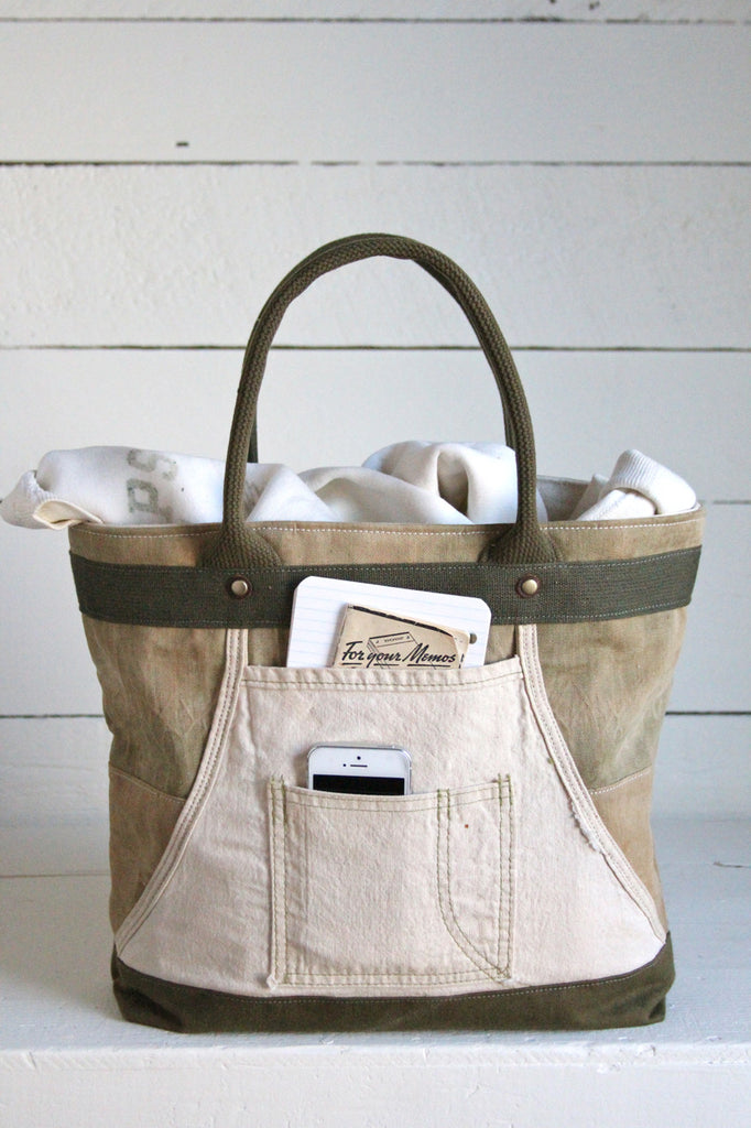 WWII era Canvas & Work Apron Carryall