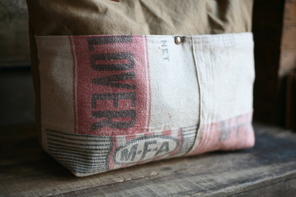 WWII era Canvas & Feedsack Carryall - SOLD