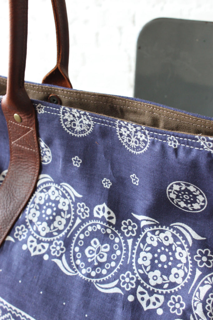 1960's era Cotton Bandana Carryall