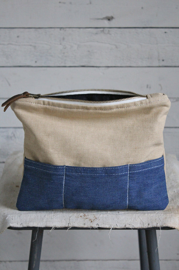 1930's era Canvas and Denim Pocket Utility Pouch
