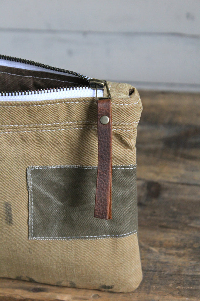 WWII era Patched Canvas Pocket Utility pouch