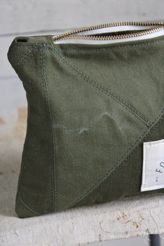Quilted WWII era Canvas Utility Pouch