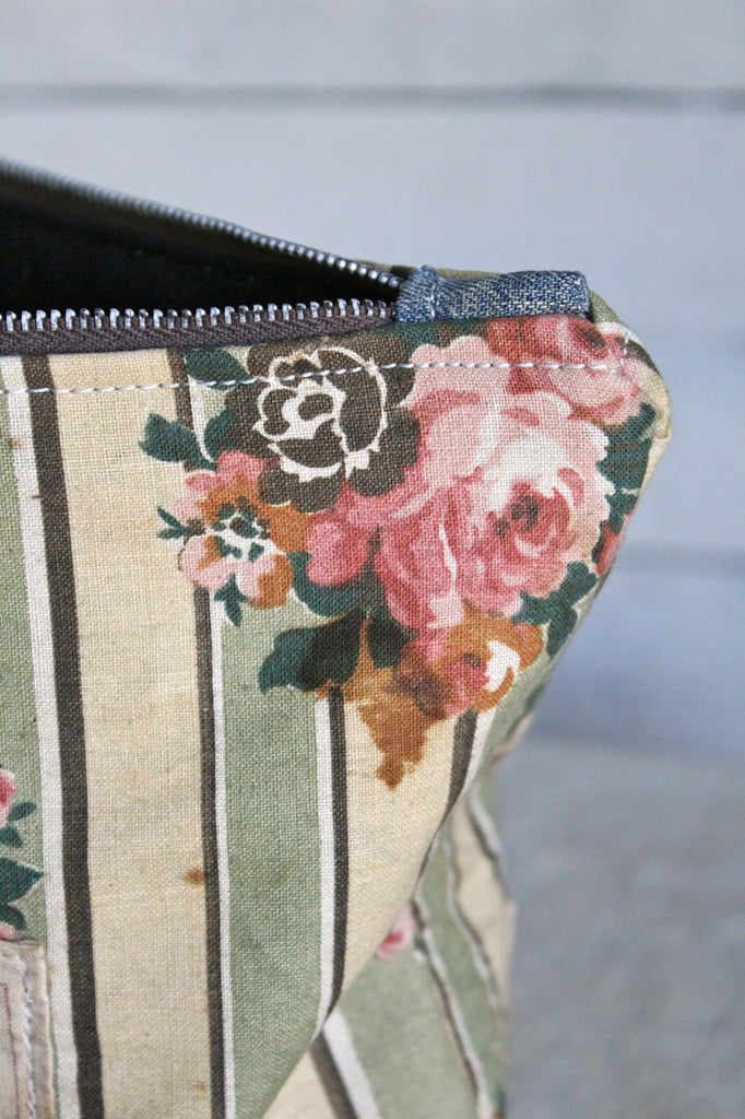 1940's era Floral Canvas & WWII era Denim Utility Pouch