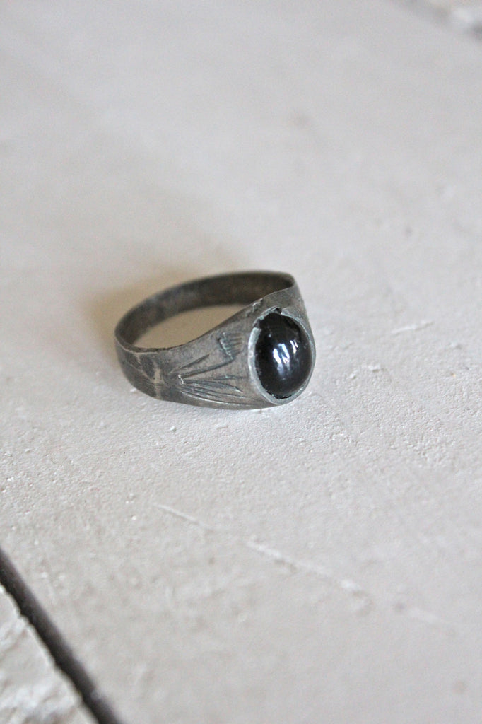 Onyx Engraved Ring