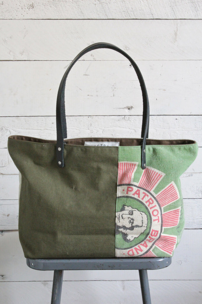 1940's era Pieced Canvas Tote Bag