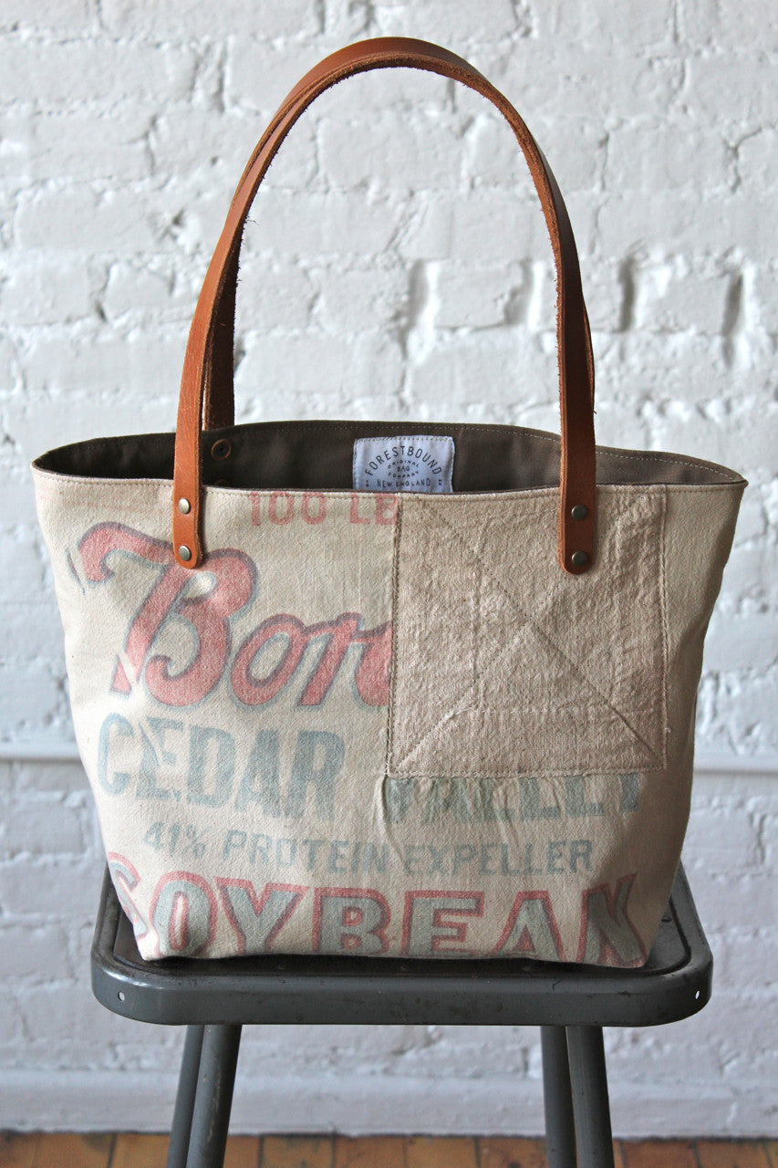 1940's era Feedsack Tote Bag