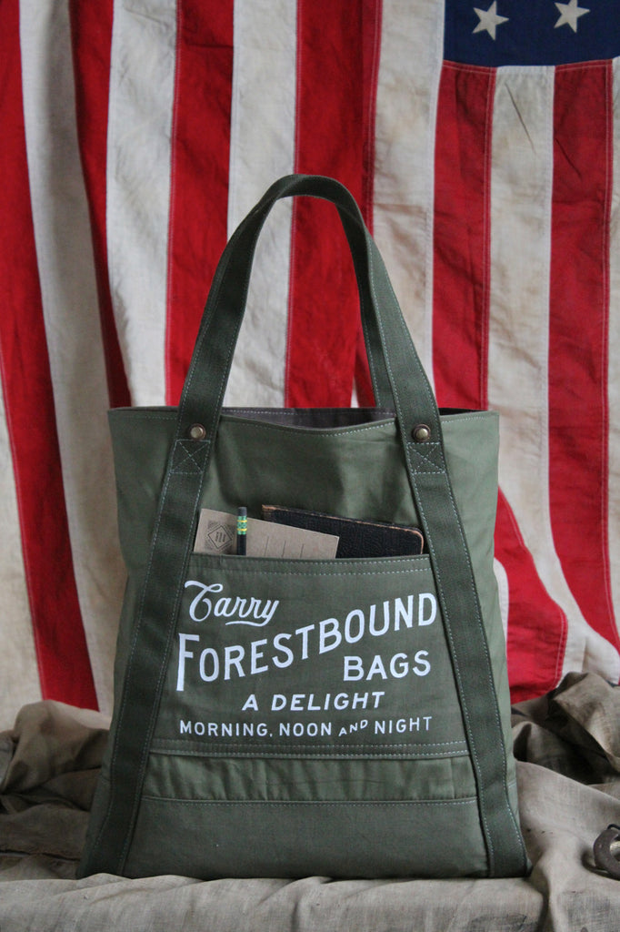 Forestbound Utility Tote made from WWII era canvas.