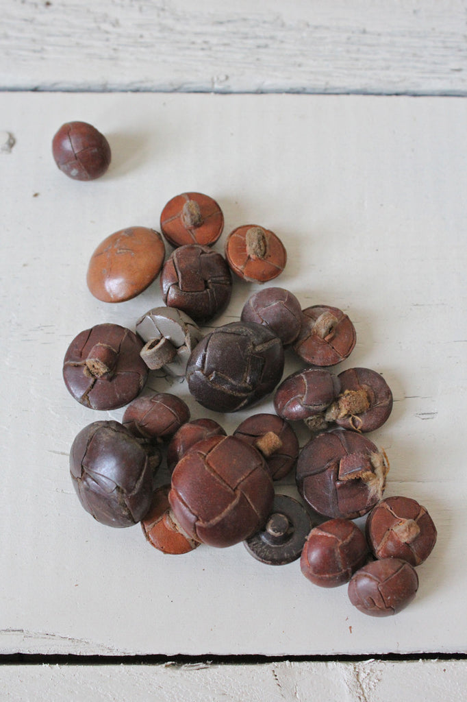 Lot of Antique Leather Buttons