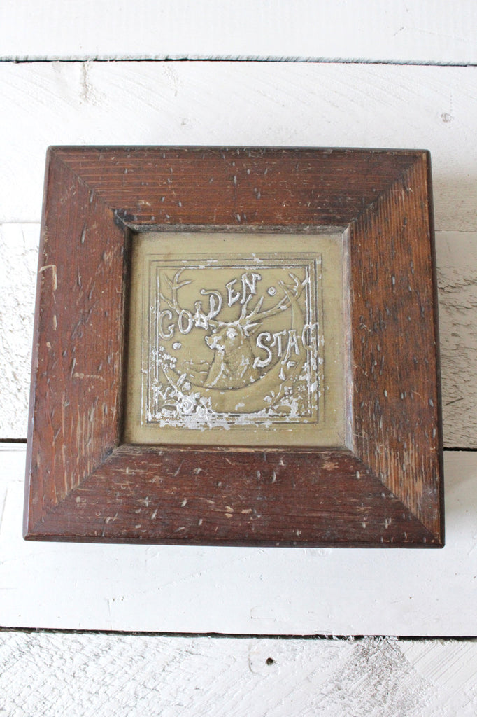 Golden Stag Wooden Cigar Box