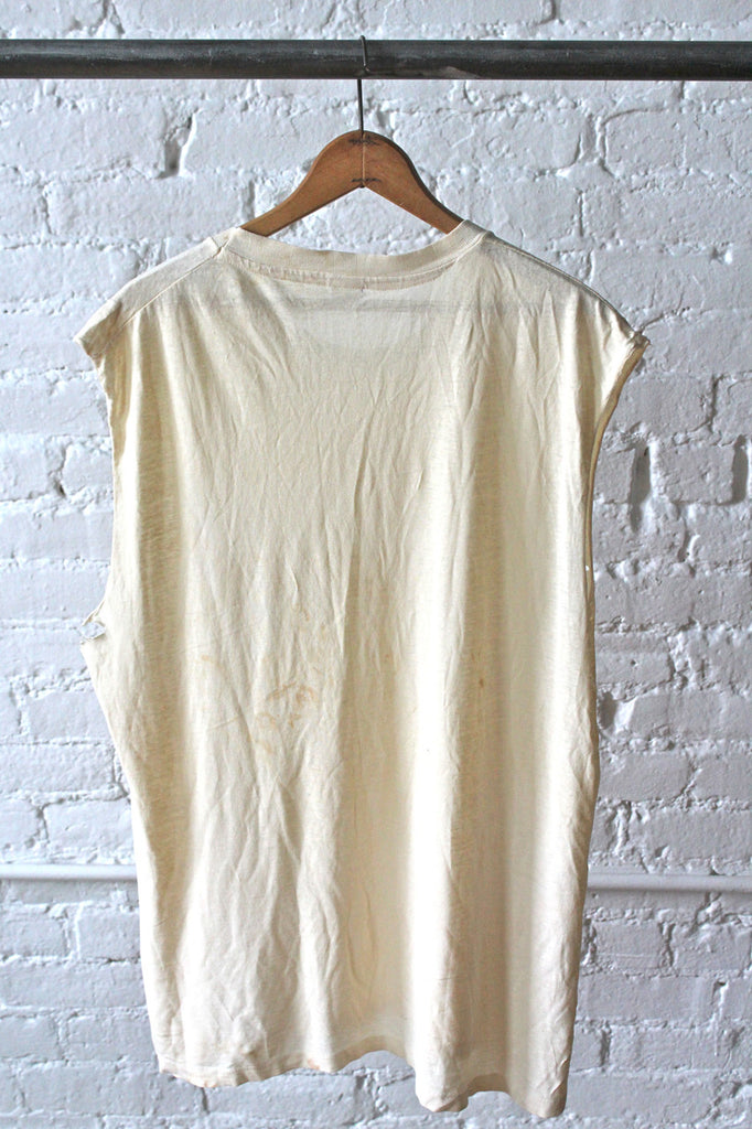 White Sleeveless T-Shirt
