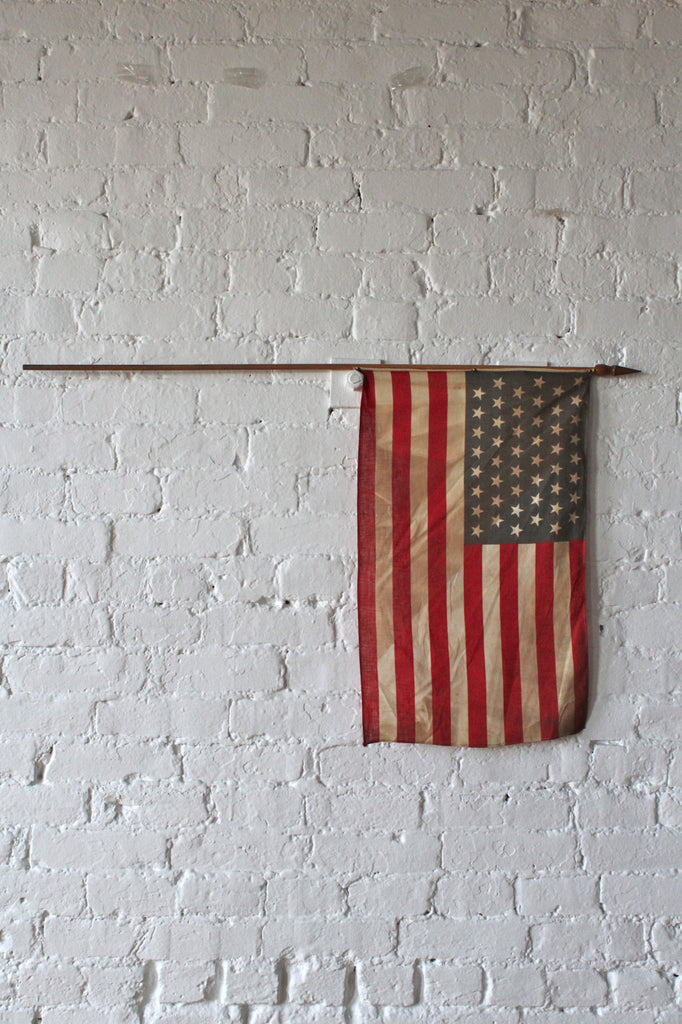 48 Star American Flag on Wooden Flag Pole (Medium)