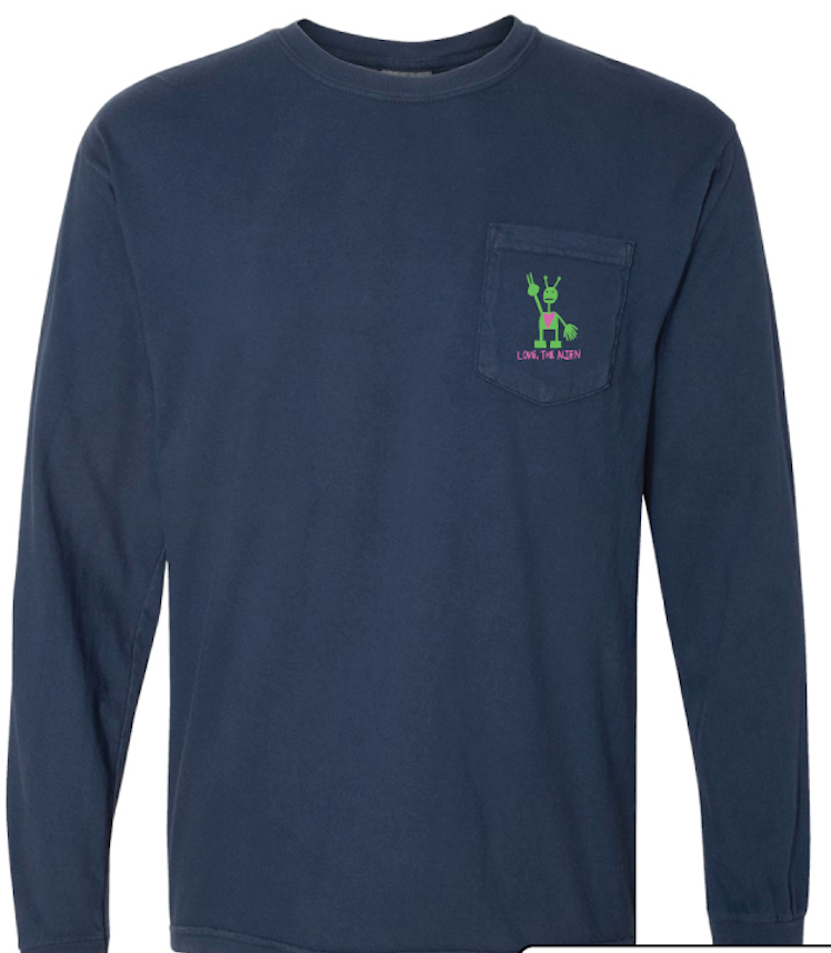 Navy Long Sleeve Pocket Shirt (Embroidered)