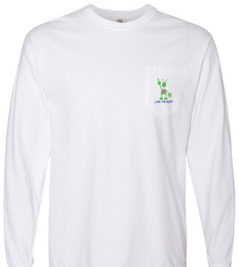 White Long Sleeve Pocket Shirt (Embroidered)