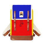 TRICOLOR YKRA MATRA MINI LEATHER STRAP Classic hiking backpack BLUE RED YELLOW with leather straps and bottom