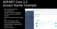 Open Source - GoJazz Starter Example - Roles and Membership - ASP.NET CORE 2.2