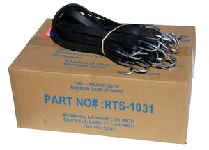 "31"" Rubber Tarp Straps with S-Hooks Attached (50 per Box)"
