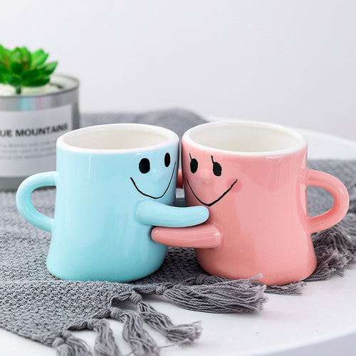 Color couple double cup cartoon expression ceramic cup student coffee mug Valentine's day gift  creative tea cup