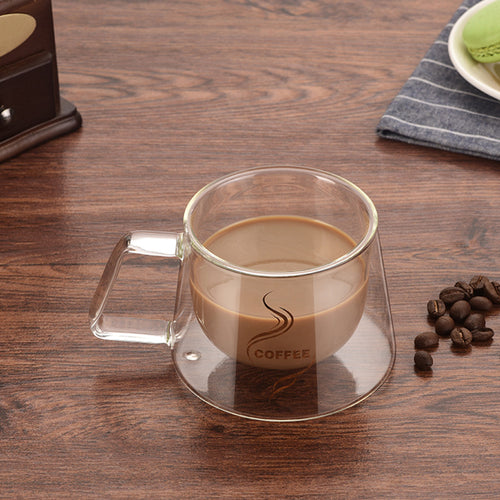 Urijk 1pc  Double Wall Mug Office Mugs With The Handle Mugs Heat Insulation Double Coffee Mug Coffee Cup