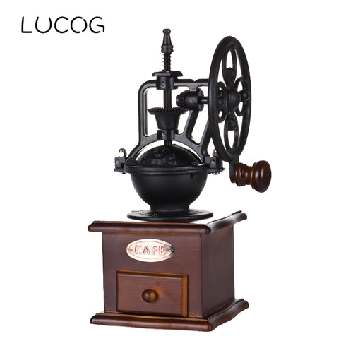 LUCOG Ferris Wheel Manual Ceramic Coffee Grinder Vintage Style Hand-crank Roller Drive Grain Burr Mill Coffee Grinding Machine