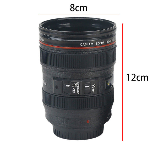 300-400ml Camera Lens Shaped Mug With Lid Vacuum Flasks Coffee Mugs Tea Cup Novelty Gifts Caneca Drinkware Travel Hiking