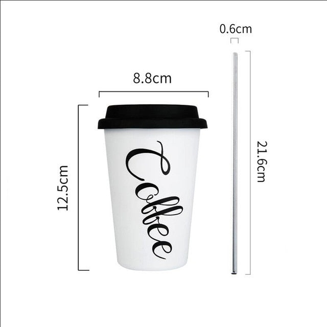 Coffee Mugs Thickened Stainless Steel Coffee Mugs Tea Cups Big Travel Mug Camping Mugs Coffee Cup With Lid Straws 450ml