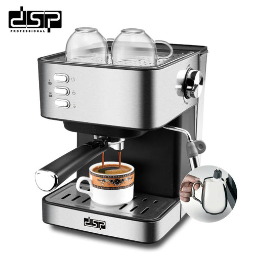 DSP  Semi-automatic Coffee Machine Stainless Espresso Maker Fully Functional Home Display Full Temperature Control