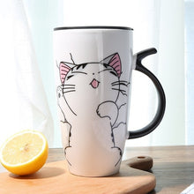 Load image into Gallery viewer, Cute Cat Ceramics Coffee Mug With Lid Large Capacity 600ml Animal Mugs creative Drinkware Coffee Tea Cups Novelty Gifts milk cup