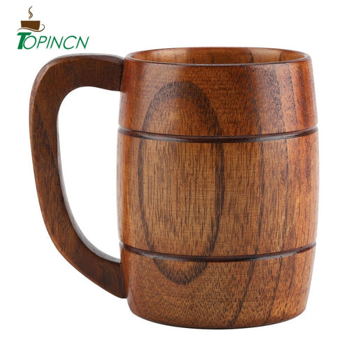 Natural Wooden coffee mug Retro Capacity Tea Water beer coffee cup Classic Wood Drinking Mug with Handle