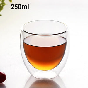 Heat Resistant Double Wall Glass Coffee/Tea Cups And Mugs  Travel Double Coffee Mugs With The Handle Mugs Drinking  Shot Glasses